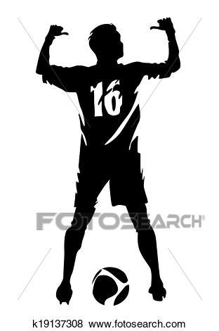 Soccer player vector silhouette Clip Art.