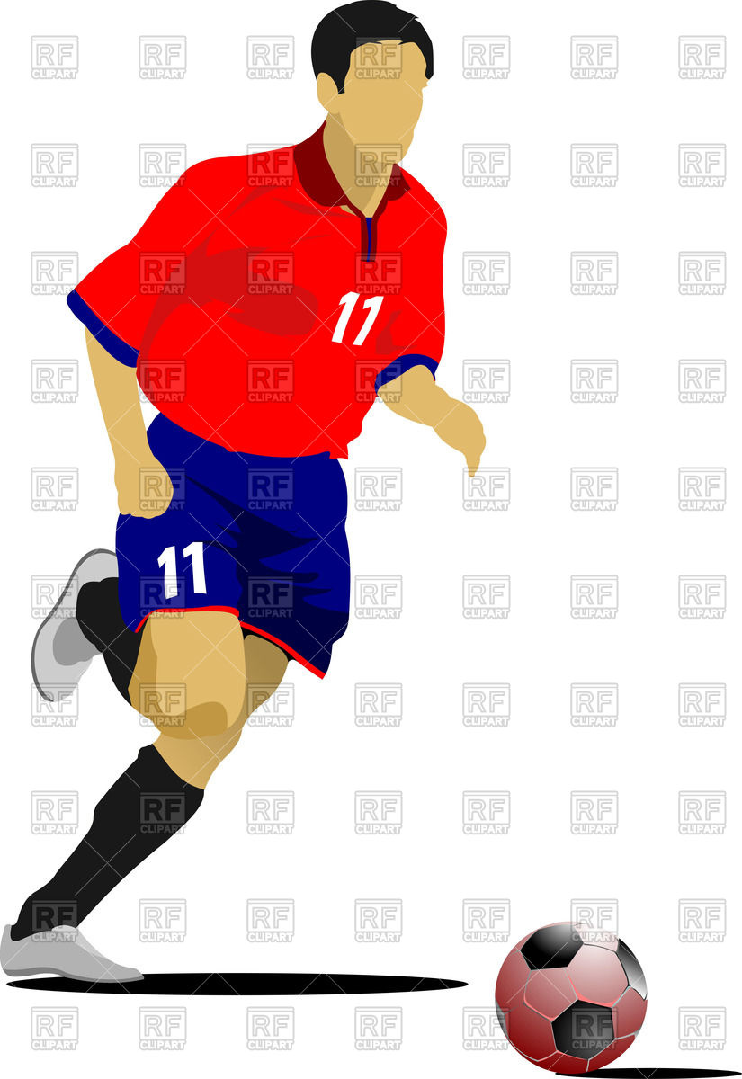 Silhouette of running soccer player Stock Vector Image.