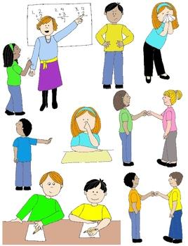 Kids in Action: Social Skills and Pragmatic Language Visuals 1 Clip Art 60  PNGs.
