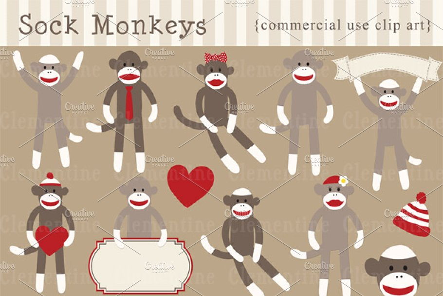 Sock Monkey clip art and vectors.