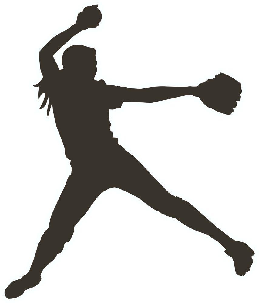 Girl softball pitcher clipart.