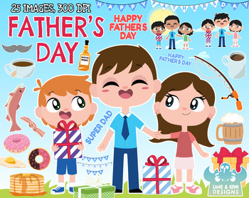 Father's Day Clipart, Instant Download Vector Art, Commercial Use Clip Art.