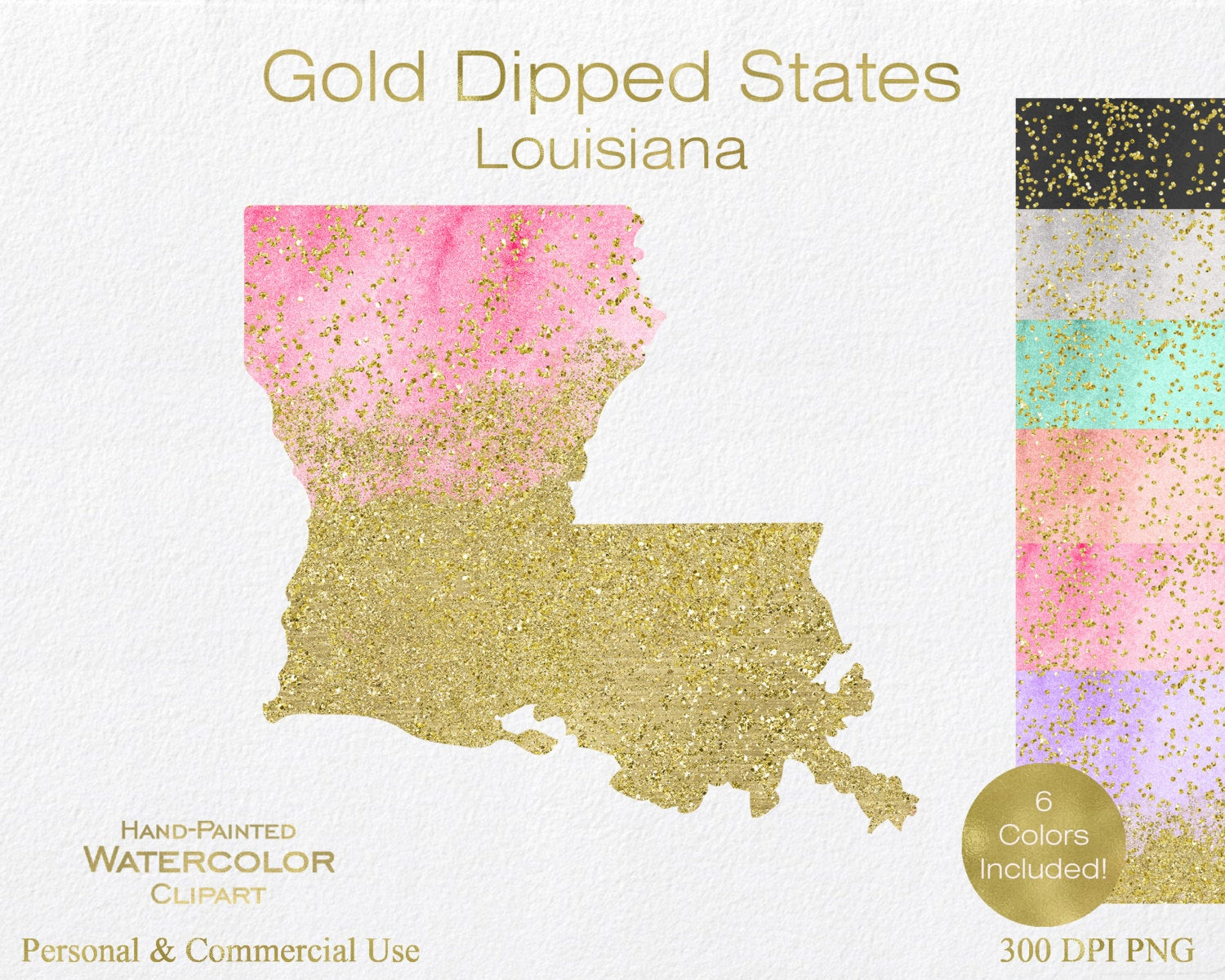 WATERCOLOR & GOLD LOUISIANA Clipart Commercial Use Clipart.