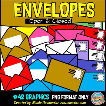 Open and Closed Envelopes (with Note Paper and Stamps) Clip Art Commercial  Use.