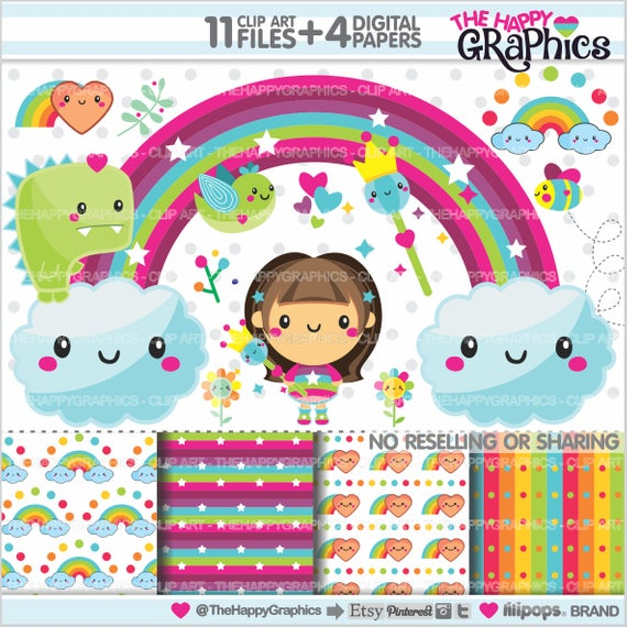 Rainbow Clipart, Rainbow Graphics, COMMERCIAL USE, Planner.