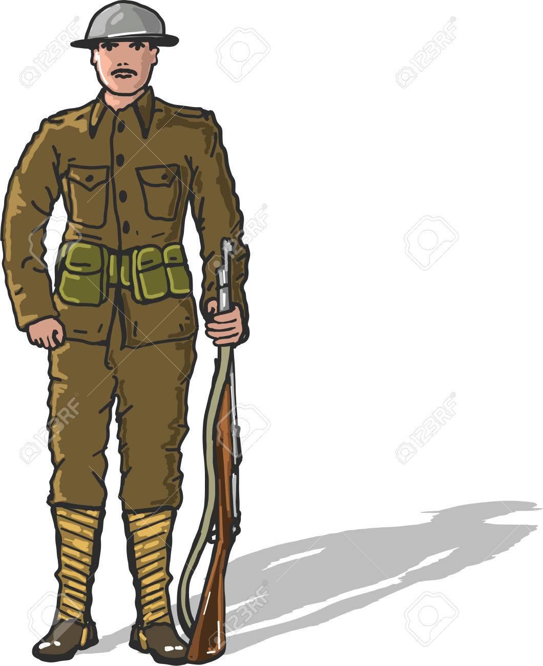 World war one us marine soldier vector illustration freehand...