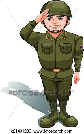 A handsome soldier Clipart.