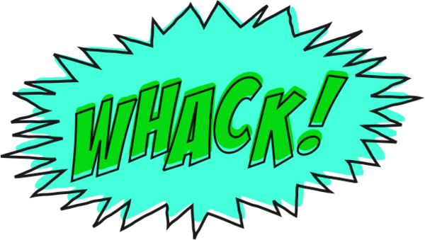 Whack comic book sound effect no background.