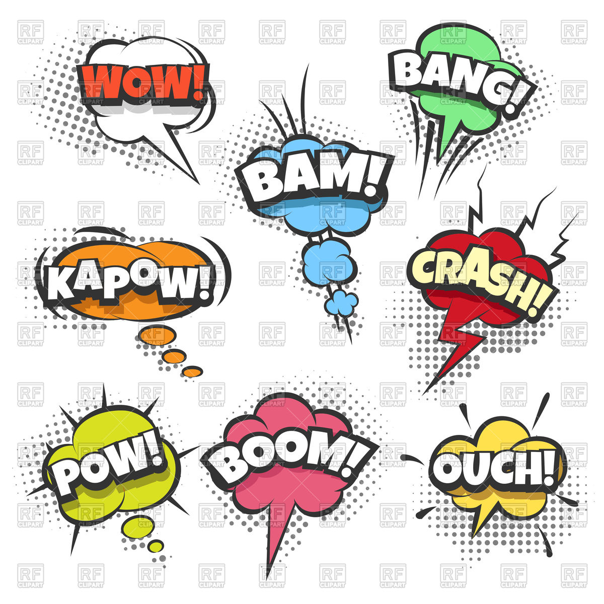 Comic sound effects text in sound bubbles Stock Vector Image.