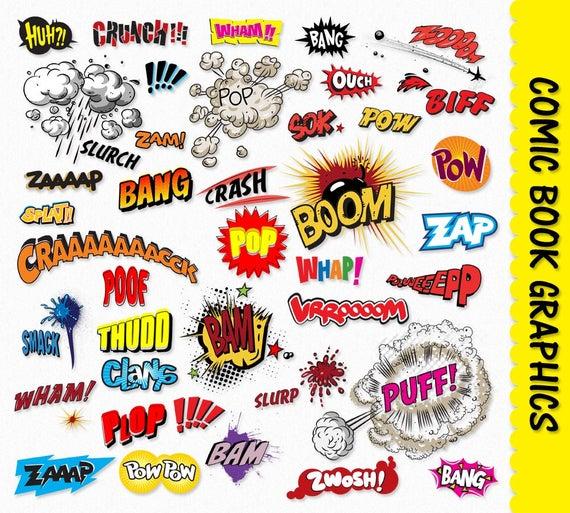 Comic Book Clip Art Graphics Pop Art Clipart Scrapbook Super Hero  Explosions Sound Effect Digital Download Commercial Transparent PNG Vector.