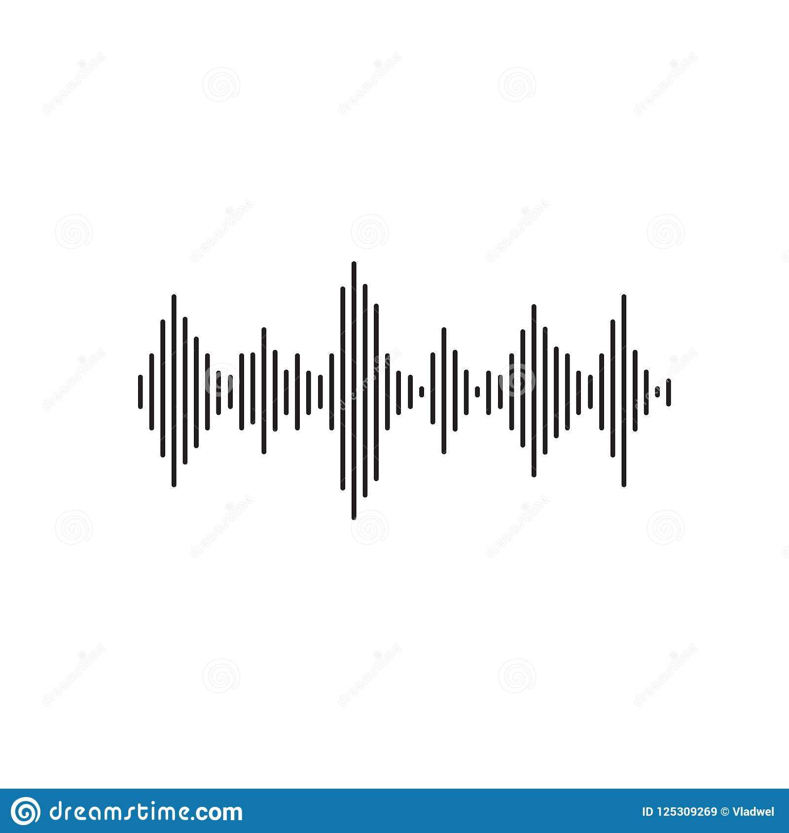 Sound Wave Vector Illustration, Flat Simple Line Acoustic Or Sonic.
