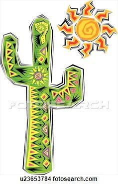 Cactus and Sun Clipart.