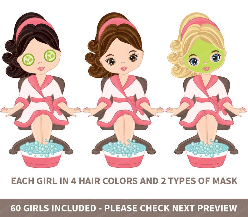 60 Spa Girls Clipart.