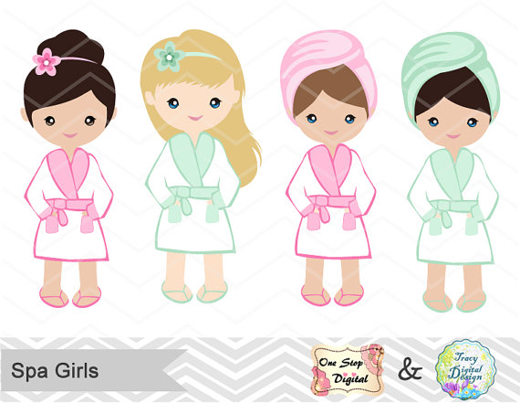 Instant Download Spa Girl Digital Clipart, Spa Girls Clip Art, Girls.