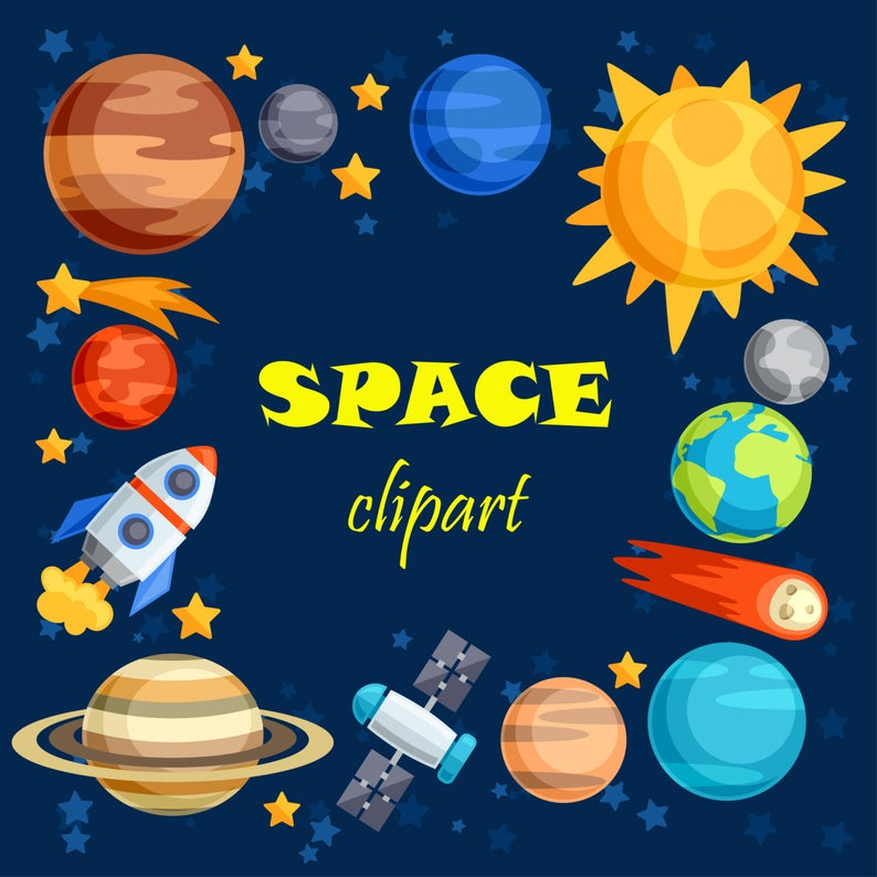 Space clipart. Space clip art. Outer space. Outer space clipart. Planet  clipart. Rocket clipart..
