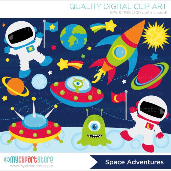 Space Clipart, Outer Space Adventures, Galaxy, Astronaut, Space Ship.