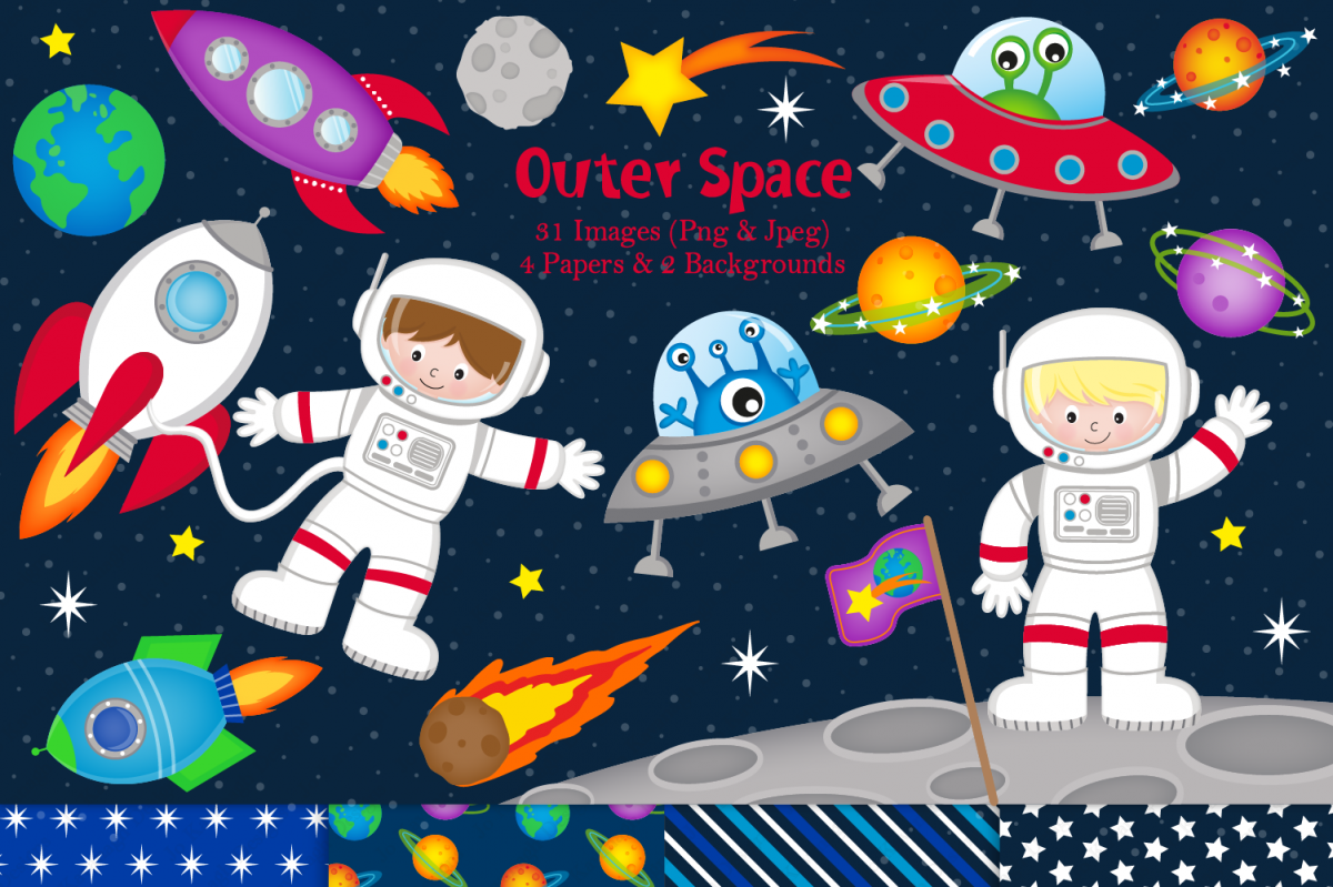 Space clipart, Space graphics & illustrations, Astronauts.