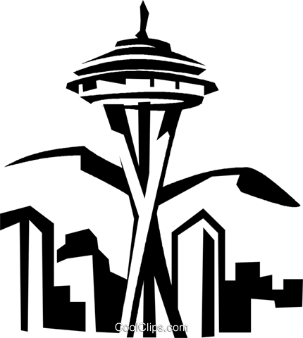 Seattle Space Needle Royalty Free Vector Clip Art illustration.