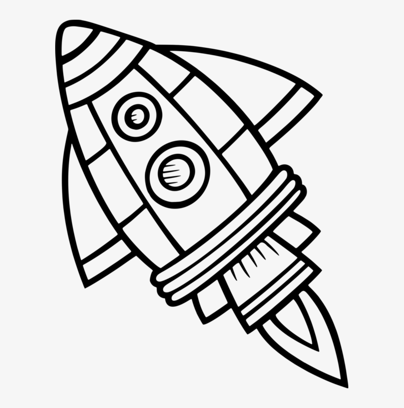 Spacecraft Drawing Black And White Rocket Computer.