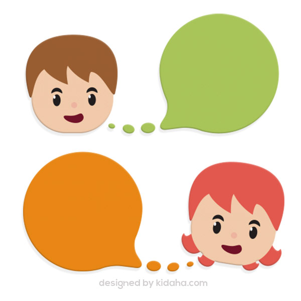 Free education clip arts Boy and girl and speech bubbles.