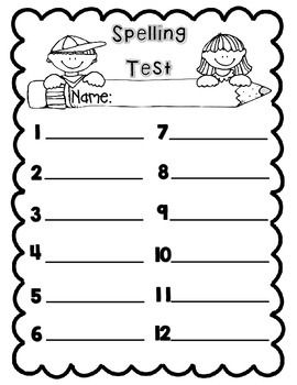 Spelling Test Template.