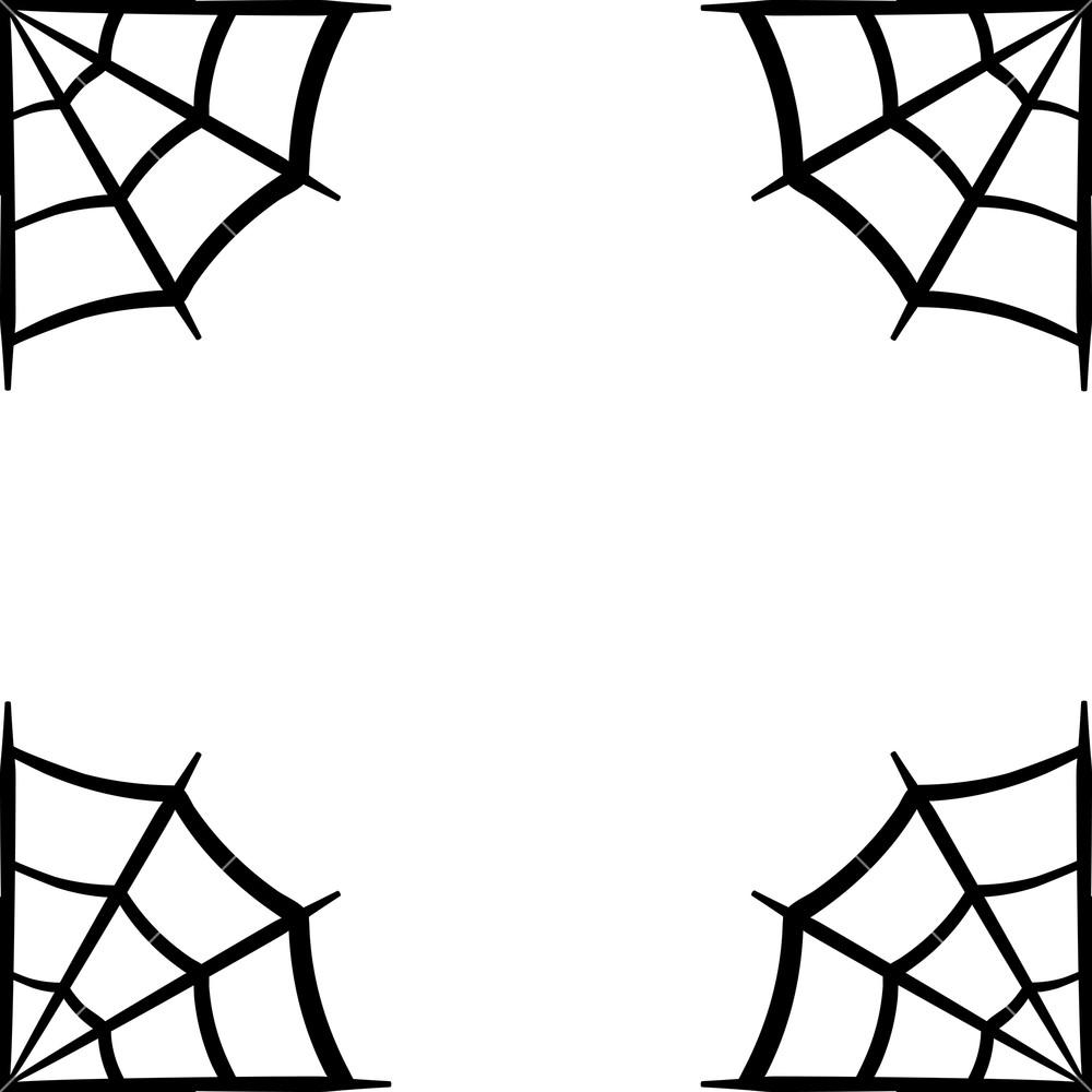 Spider web icon. Spider web frame. Cobweb vector silhouette.