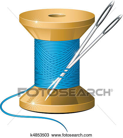 Spool of thread and needles Clipart.