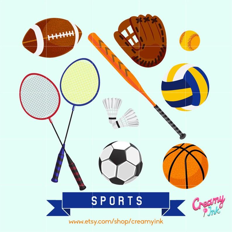 Sports Digital Vector Clip art / Sport Game Digital Clipart Design  Illustration / Soccer, Football, Basketball, Softball /Download.