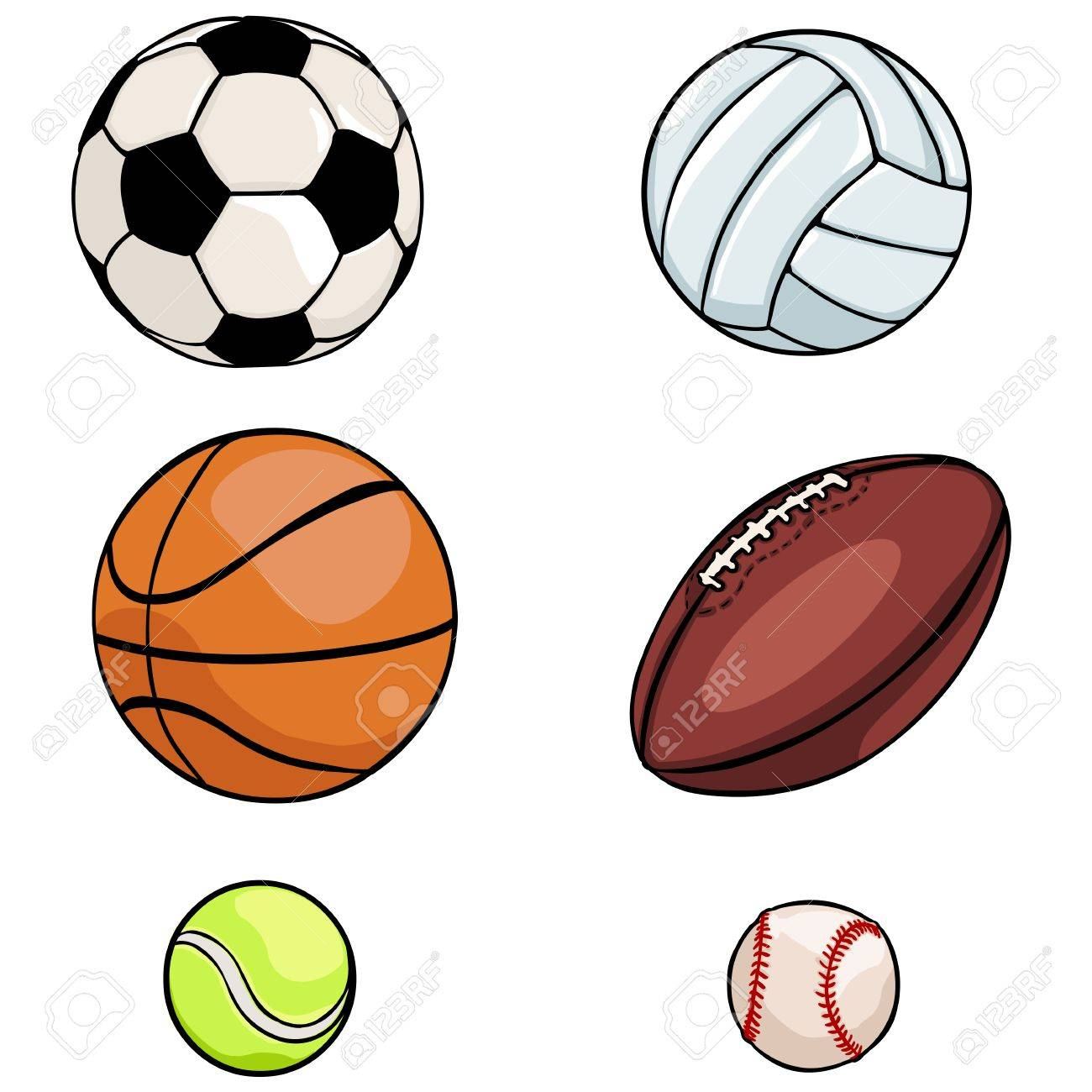vector set of sports balls on White Background.