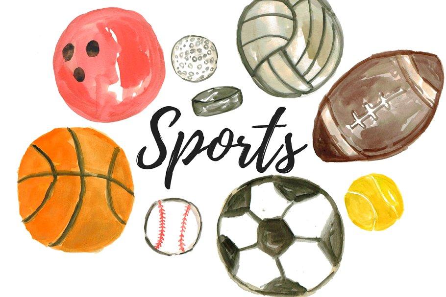 Watercolor Sport Balls Clipart.