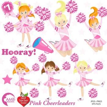 Cheerleader Clipart, Cheerleaders in Pink Clip art, Sports Figures, AMB.