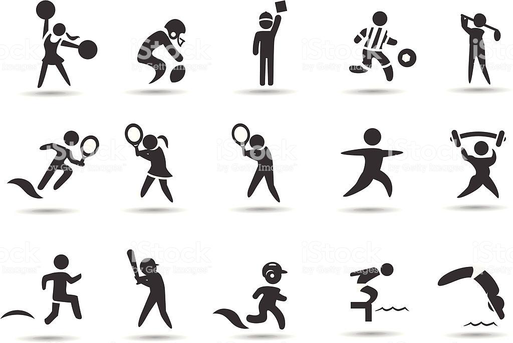 Sports Stick Figures Stock Illustration.