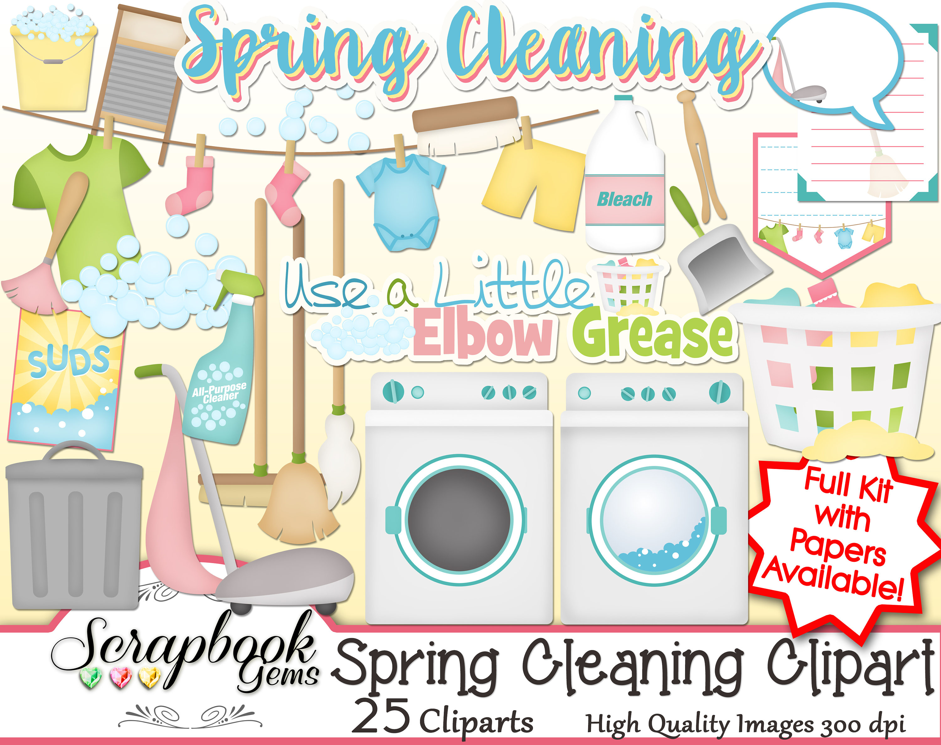 SPRING CLEANING Clipart, 25 png Clipart files Instant Download cleaner  washer dryer laundry cloths line trash vacuum broom mop dust bubbles.