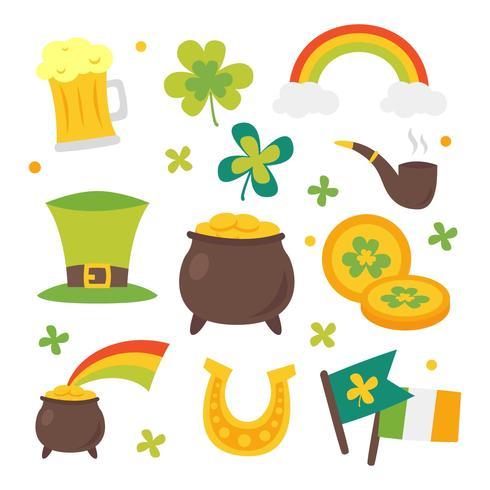 St Patricks Day Clipart Set Vector.
