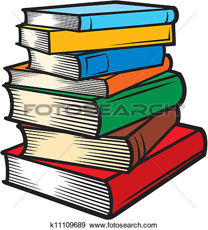 Clip Art of Stack of books (books stacked) k11109689.