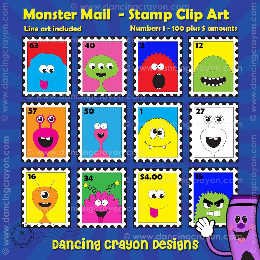 Stamps Clip Art: Monster Mail Stamp Clipart.