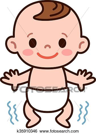 Baby stand up Clip Art.