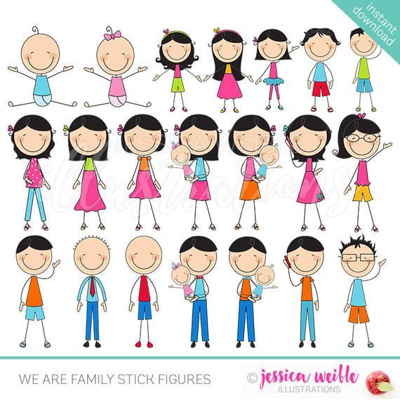 We are Family Stick Figures Cute Digital Clipart, Stick Figure.