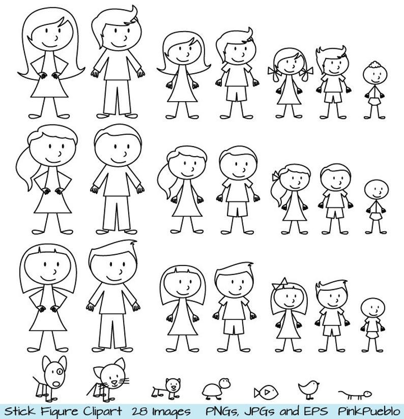 Stick Figure Clipart Clip Art, Stick People Family and Pets Clipart Clip  Art.