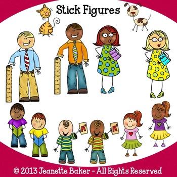 Stick Figure People Clip Art by Jeanette Baker.