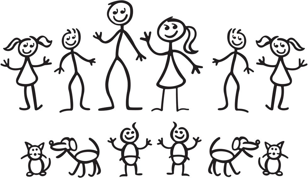 Stick figure clipart clip art people family and pets.