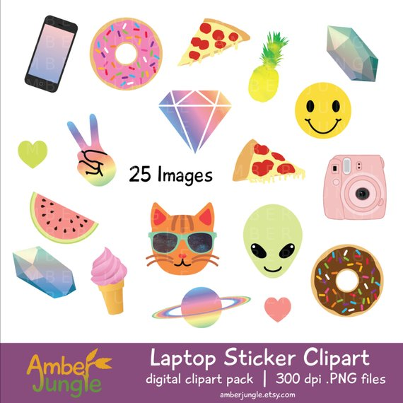 Laptop Stickers Clipart.