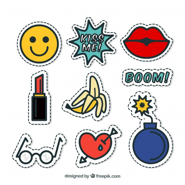 Funny pack of pop art stickers Vector.