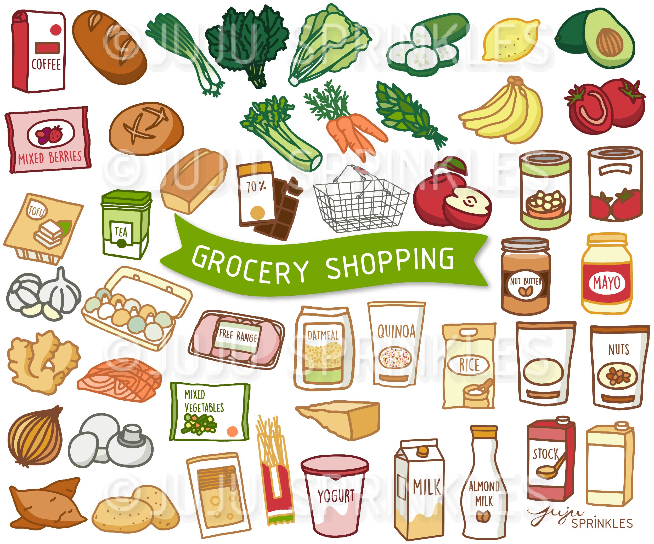 Grocery Shopping Clipart and Sticker Set.
