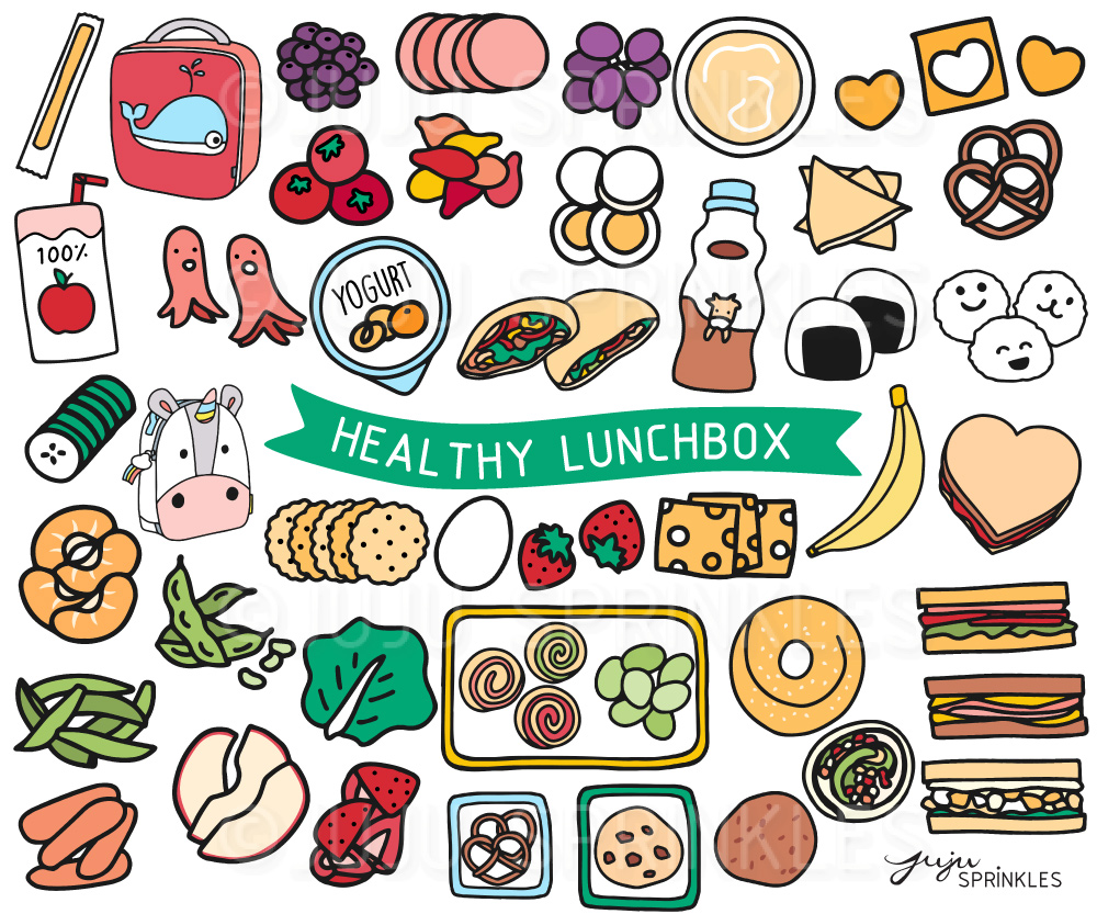 Healthy Lunchbox Clipart and Sticker Set.