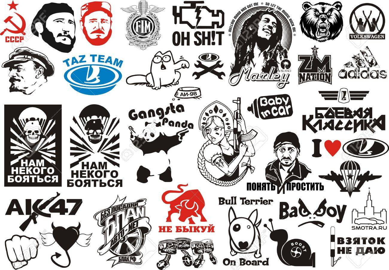 Vector clipart car stickers for plotter.