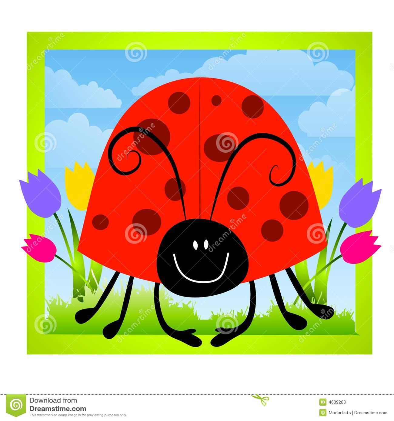 Cartoonish Ladybug Clip Art Stock Illustration.