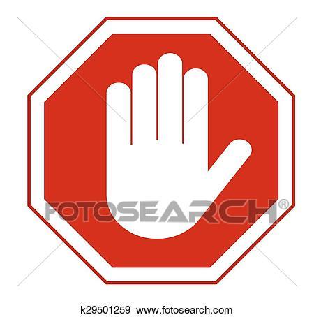 Stop hand sign Clip Art.