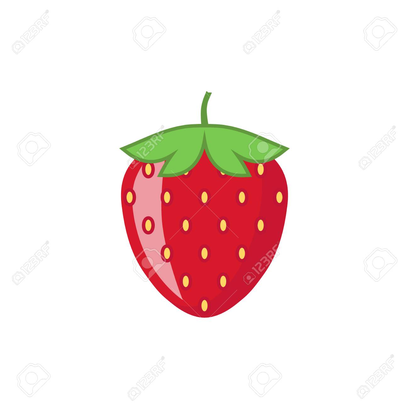 Strawberry with leaf vector icon. Strawberry icon clipart. Strawberry...