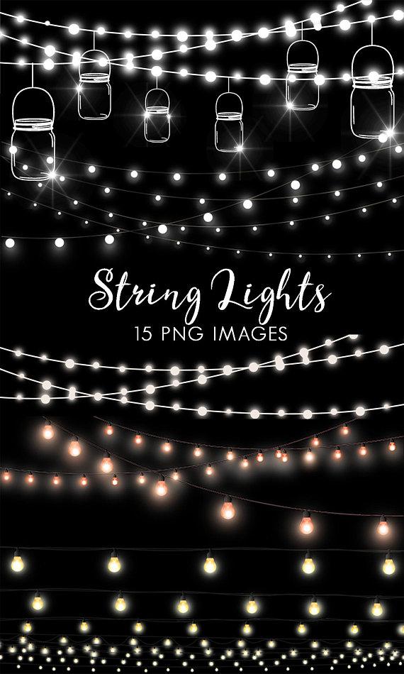 String Lights Clipart, Fairy Lights Clip Art, Party Lights Clipart.